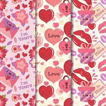 手描きのバレンタインの日パターンのコレクション