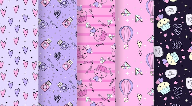 Hand drawn valentines day pattern collection