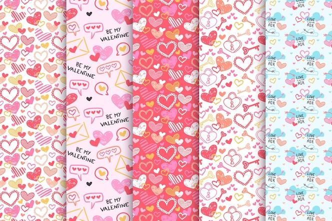 手描きのバレンタインデーのパターンコレクション