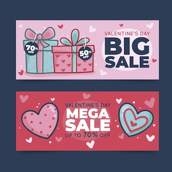 Hand drawn valentines day sale banners template
