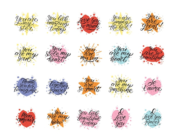 Hand drawn valentines day typography poster romantic quotes on textured background for postcard