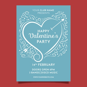 Hand drawn valentines party poster template