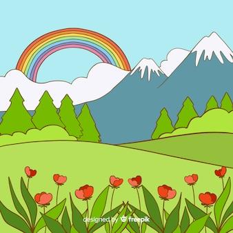 Hand drawn valley spring background
