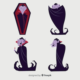 Hand drawn vampire character collection