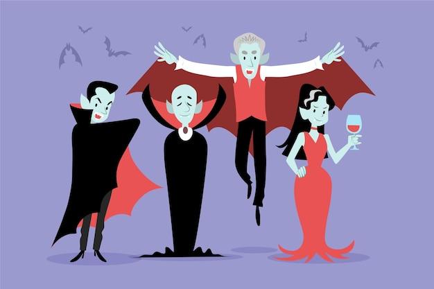 Collezione di personaggi vampiri disegnati a mano