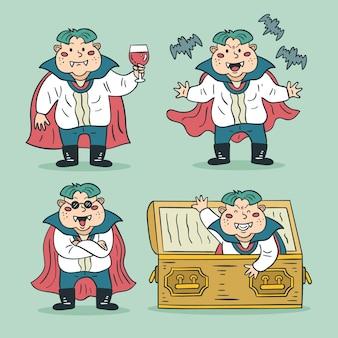 Set di caratteri del vampiro disegnato a mano