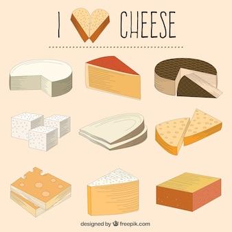 Hand drawn varied cheeses