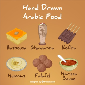 Hand drawn variety of arabic menus
