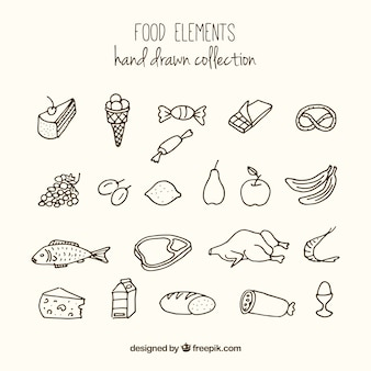 Hand drawn variety of foodstuffs