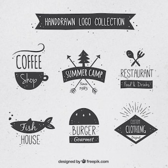 Hand drawn variety of logos set in vintage style