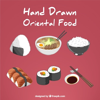 Hand drawn variety of oriental food