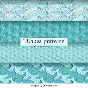 손으로 그린 다양 한 파도 패턴
