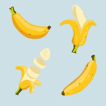 手描きの様々なバナナのイラスト