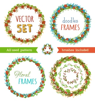 Hand-drawn various circle frames isolated.