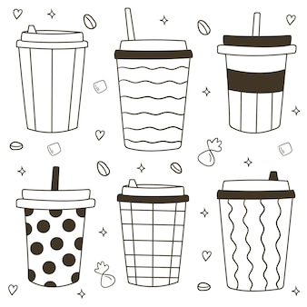 Рука нарисованные различные кофейные чашки. пластиковые и бумажные кофейные чашки. кофе с собой