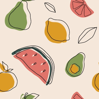 Hand drawn various fruits and doodle objects. contemporary seamless pattern design. trendy textile print.