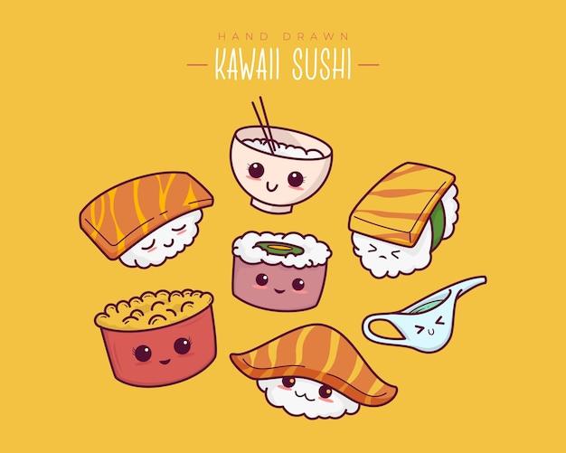 Рисованной различные суши каваи, онигири, сашими. японский мультяшный стиль. набор милых векторных иллюстраций.