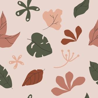Рисованной различные листья и объекты каракули. современный дизайн бесшовные модели.