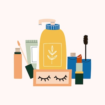 さまざまな化粧品を手描き。フェイスケア製品とボディケア製品。ローション、bbクリーム、マスカラ、口紅、人工まつげ、コンシーラー。自然環境にやさしい組成