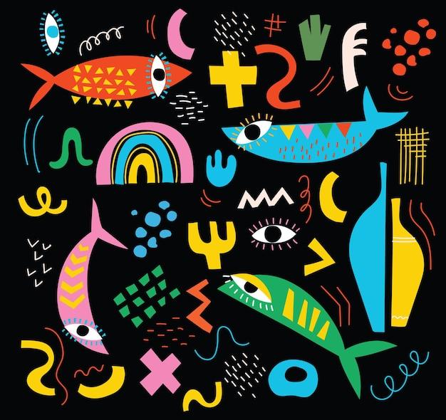 手描きのさまざまな形と3つの抽象的な現代的な現代の流行のベクトルの落書きオブジェクトセット...