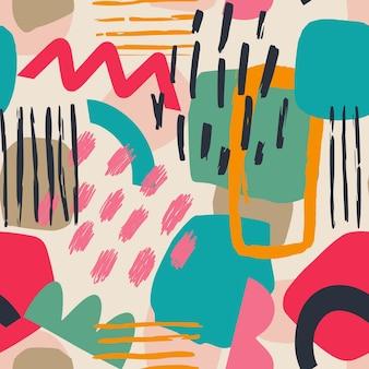 手描きのさまざまな形と葉の斑点点と線抽象的な現代的なシームレスパターン