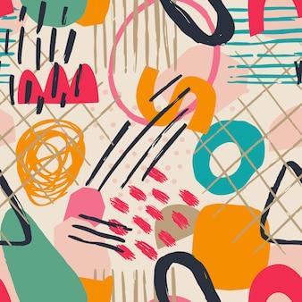 手描きのさまざまな形や葉、斑点、点や線。異なる色。抽象的な現代的なシームレスパターン。ベクトルでモダンなパッチワークのイラスト