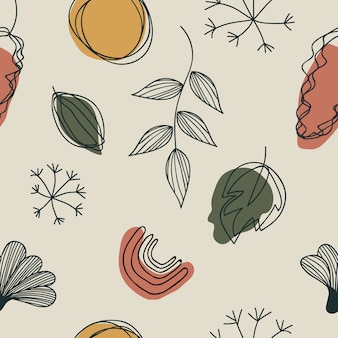 Hand drawn various shapes and doodle leaves. contemporary seamless pattern design.