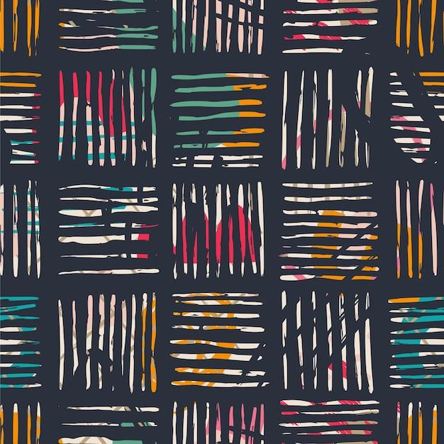 手描きのさまざまな形、スポット、点、線。抽象的な現代的なシームレスパターン