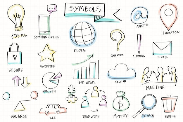 Hand drawn various symbol elements set