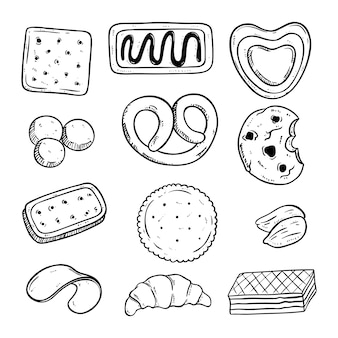 Hand drawn various of tasty biscuits