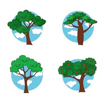 손으로 그린 다양한 종류의 나무