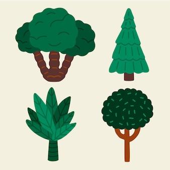 手描きの様々な種類の木