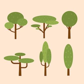 Vari tipi di alberi disegnati a mano