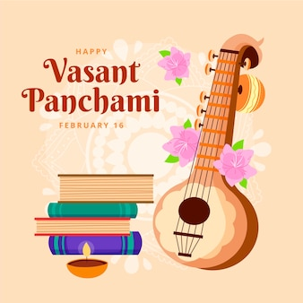 Hand drawn vasant panchami illustrated Free Vector