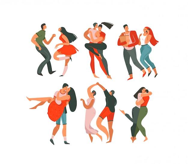 Hand drawn vector abstract cartoon modern graphic happy valentines day concept illustrations art collection set bundle with dancing couples people together isolated on white background