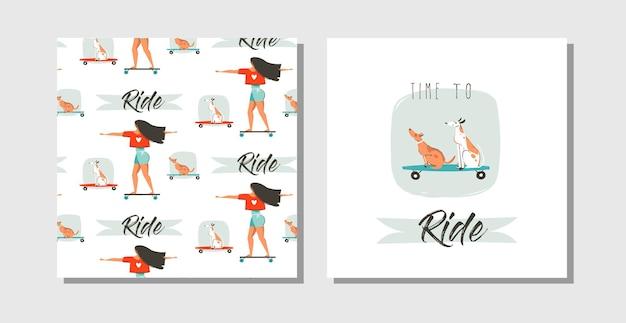손으로 그린 벡터 추상 만화 여름 시간 재미있는 카드는 흰색 배경에 격리된 현대적인 활자 인쇄술을 사용하여 스케이트보드를 탄 어린 소녀와 긴 보드에 개가 있는 컬렉션을 설정합니다.