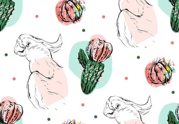 白い背景で隔離パステルカラーの熱帯のオウムとジューシーなサボテンの花と手描きのベクトル抽象的なコラージュシームレスパターン。