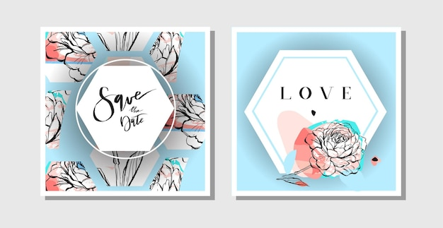 Hand drawn vector abstract creative collage freehand textured save the date greeting cards collection set template with flowers isolated on pastel background.wedding,save the date,birthday,rsvp.