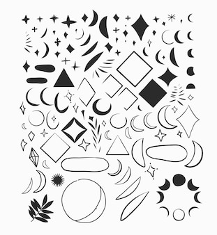 Hand drawn vector abstract flat graphic illustrations collection set bundle with logo elementsbohemi...
