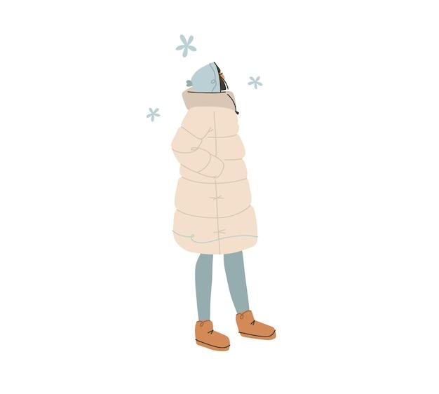 손으로 그린 벡터 추상 플랫 스톡 현대적인 그래픽 해피 뉴 이어와 메리 크리스마스 일러스트레이션 캐릭터 디자인, 겨울 옷을 입은 젊은 행복한 소녀가 혼자 밖에 걸어갑니다.