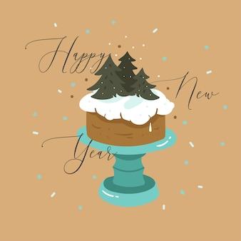 手描きのベクトル抽象的な楽しいメリークリスマスと新年あけましておめでとうございます時間漫画イラストグリーティングカード、クリスマスケーキスタンドと茶色の背景に分離された新年あけましておめでとうございますテキスト。