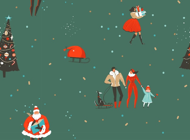 Hand drawn vector abstract fun merry christmas and happy new year time cartoon rustic nordic seamless pattern with cute illustrations of xmas people and santa claus isolated on green background.
