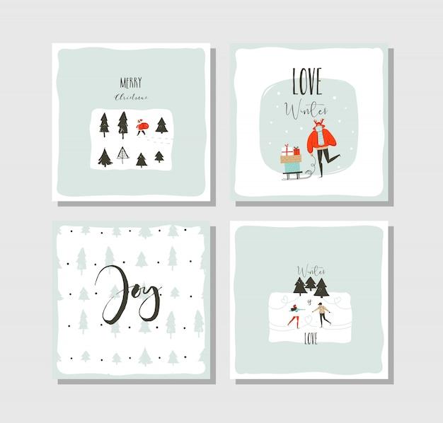 Ручной обращается вектор абстрактные развлечения счастливого рождества мультяшный набор карт с милыми иллюстрациями, изолированными на белом