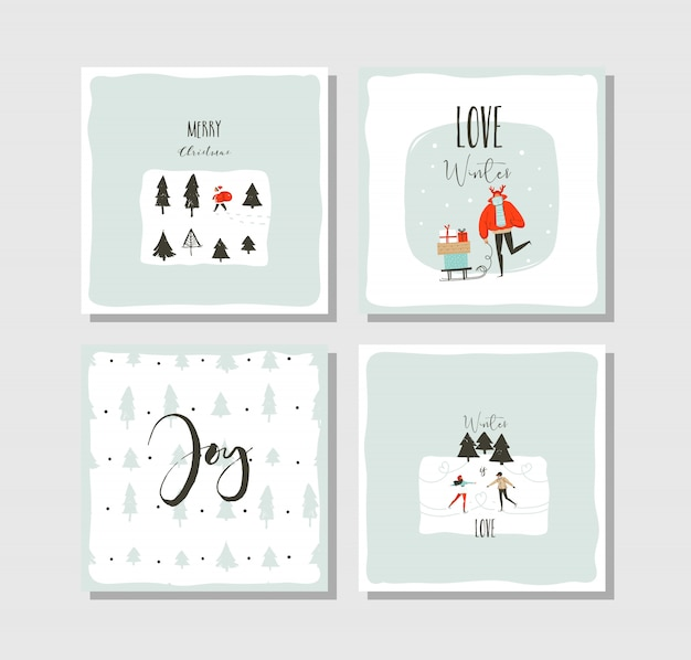 Hand drawn vector abstract fun merry christmas time cartoon cards collection set with cute illustrations isolated on white