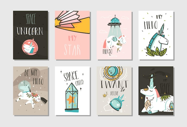 Hand drawn vector abstract graphic creative cartoon illustrations cards collection set template with astronaut unicorns with old school tattoo,planets and spaceship isolated on pastel background.