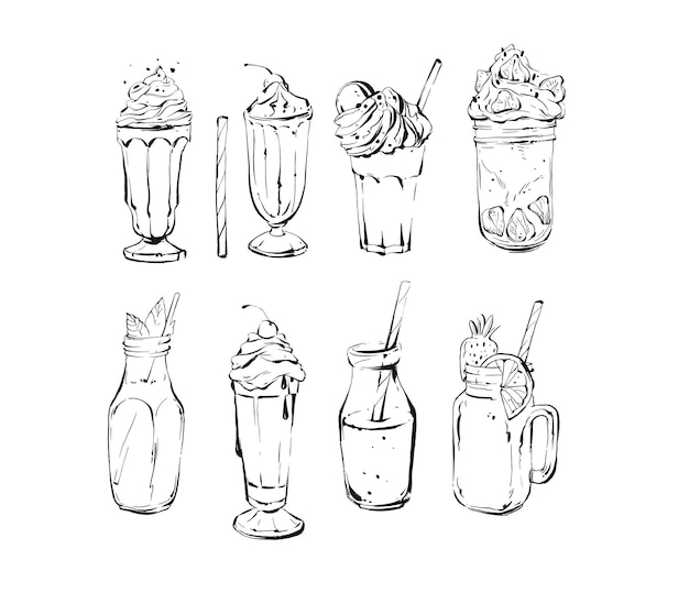 Hand drawn vector abstract ink graphic brush textured sketch drawing big collection set with lemonade,smoothie,coffee and dessert drinks cocktails isolated on white background