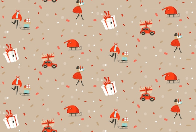 手描きのベクトル抽象的なメリークリスマスと新年あけましておめでとうございます時間漫画素朴なお祝いのシームレスなパターンと黒い紙吹雪の背景に分離されたクリスマスツリーおもちゃ球根花輪のかわいいイラスト