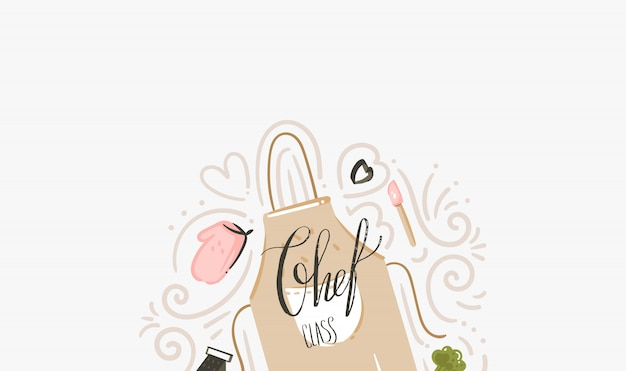 Hand drawn vector abstract modern cartoon cooking class illustrations with cooking apron, utensils and chef class handwritten modern calligraphy isolated on white background