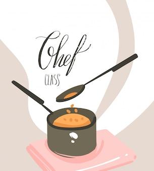 Рисованной вектор абстрактный современный мультфильм кулинарный класс иллюстрации с подготовкой еды сцены, кастрюля, ложка и рукописный текст каллиграфии класс шеф-повара, изолированные на белом фоне