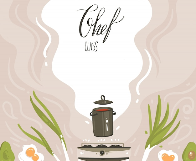 Hand drawn vector abstract modern cartoon cooking class illustrations with preparing food scene,soup pan,vegetables and chef class handwritten modern calligraphy isolated on white background